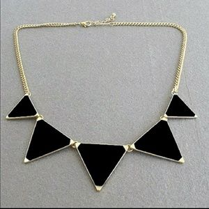 Jewelry - NWT Black and gold triangle statement necklace